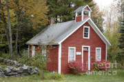 Red School House Art - North District School House -Dorchester NH USA by Erin Paul Donovan