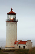 Gloomy Prints - North Head Lighthouse - Ilwaco on Washingtons Southwest Coast Print by Christine Till