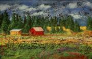 Barn Pastels Prints - North Idaho Farm Print by David Patterson
