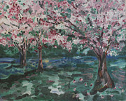 Cherry Blossoms Painting Prints - North Laguna Cherry Blossoms 8 X 10 Print by Karen Alonge