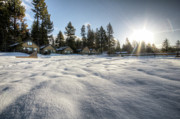 Sun Flare Framed Prints - North Lake Tahoe Beach Snow Framed Print by Dustin K Ryan