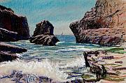 Plein Air Drawings Metal Prints - North of Santa Cruz Metal Print by Donald Maier