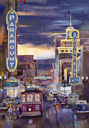Rainy Street Painting Originals - North On Broadway 1940 by Mike Hill