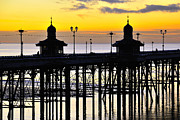 Surf Silhouette Prints - North Pier Sunset Print by Jason Connolly