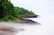 Northern Minnesota Prints - North Shore Fog Print by Perry Webster