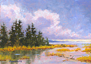 Waterscape Painting Posters - North Shore Poster by Richard De Wolfe