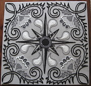 White Tapestries - Textiles Prints - North Star Print by Carolyn Powers