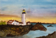 Greeting Cards Paintings - North Truro Light House Cape Cod by Donna Walsh