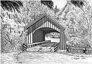 Oregon Drawings - North Yachats Covered Bridge by Lawrence Tripoli