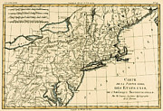 Engraving Drawings Prints - Northeast Coast of America Print by Guillaume Raynal
