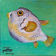 Puffer Fish Paintings - Norther Puffer by Emily Reynolds Thompson