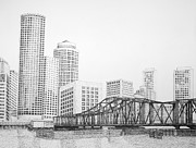 Skylines Drawings Originals - Northern Avenue Bridge - Boston by Tim Murray