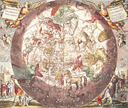 Planet Map Drawings Prints - Northern Boreal Hemisphere From The Celestial Atlas Print by Pieter Schenk
