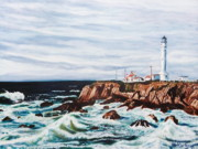 Saving Paintings - Northern California Light House by Nancy Rucker