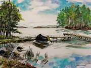 Pier Drawings - Northern Lake by John  Williams
