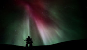 Digital Image Prints - Northern lights above an inukchuk in Saskatchewan Print by Mark Duffy
