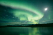 Sky Tapestries Textiles Posters - Northern lights Poster by David Nunuk