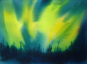 Impressionistic Landscape Painting Posters - Northern Lights I Poster by Kathy Braud