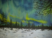 Snowy Night Painting Posters - Northern lights Poster by Irina Astley
