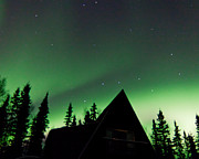 Northern Lights Liven Under The Dipper Print by John Aldabe