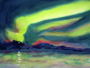 Shores Painting Prints - Northern Lights on Superior Shores Print by Kathy Braud