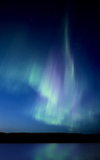 Phenomenon Digital Art - Northern Lights over Canadian Lake by Mark Duffy