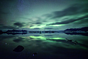 Iceland Framed Prints - Northern Lights Over Jokulsarlon Framed Print by Matteo Colombo