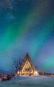 Winter Night Posters - Northern Lights Over The Arctic Cathedral Poster by Coolbiere Photograph