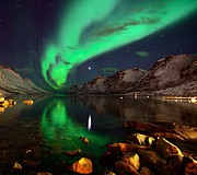 Norway Prints - Northern Lights Reflections In Ersfjordbotn Print by John Hemmingsen