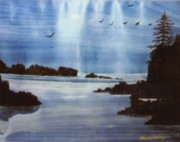 Canadian Geese Paintings - Northern Lights by Shawnah Roy