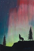 Stars Pastels Posters - Northern Lights Stardust Poster by Jackie Novak