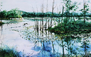 Waterscape Painting Prints - Northern Reflections Print by Hanne Lore Koehler