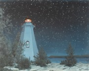 Five Canvas Paintings - Northern Sky Lighthouse Point by Michael Marcotte