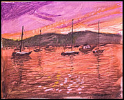 Harbor Drawings Originals - Northport Harbor Dusk by Don Schaeffer