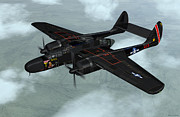 Black Widow Mixed Media Posters - Northrop P-61 Black Widow Poster by Walter Colvin