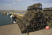 Pot Boat Framed Prints - Northumberland, England Lobster Traps Framed Print by John Short