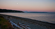 Moon Beach Framed Prints - Northwest Evening Framed Print by Mike Reid