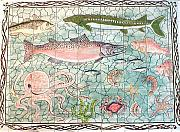 Animals Ceramics Prints - Northwest Fish Mural Print by Dy Witt