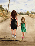 Siblings Paintings - Northwest Oklahoma Sisters by Sam Sidders