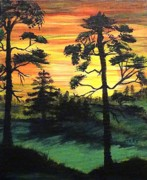 Anke Wheeler Paintings - Northwest Sunset by Anke Wheeler