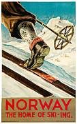 Skiing Poster Paintings - Norway by Dagtin Th Hanssen