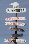 Norway Prints - Norway, Directional Sign On Bear Island Print by Keenpress
