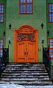 White Frame House Digital Art Prints - Norway Doorway Print by Louise Fahy