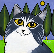 Blue And White Painting Prints - Norwegian Forest Cat Print by Leanne Wilkes