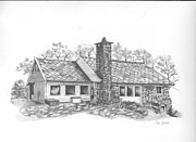Rustic Drawings Metal Prints - Norwegian House Metal Print by Sue Olson