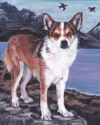 Puffin Paintings - Norwegian Lundehund by Lee Ann Shepard