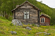 Frame House Metal Prints - Norwegian Timber House Metal Print by Heiko Koehrer-Wagner