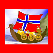 Vikings Digital Art Framed Prints - Norwegian Vikings Framed Print by Ellen Marie Lyngmo
