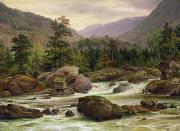 Mountainous Painting Posters - Norwegian Waterfall Poster by Thomas Fearnley
