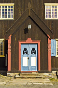 Frame House Metal Prints - Norwegian wooden facade Metal Print by Heiko Koehrer-Wagner